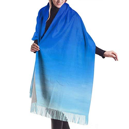 Bufanda con Flecos, Accesorios de Vestidos, Manta, Tapiz, Chal cálido Premium de Nube Azul Cielo