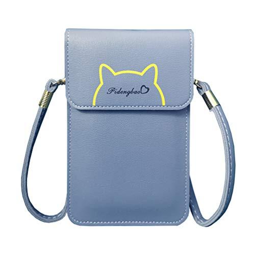 Fanshu umhängetasche für Handy und geldbörse Handytasche zum umhängen Damen klein mit sichtfenster Weiches Echtes Trend held für Mädchen(Blau)