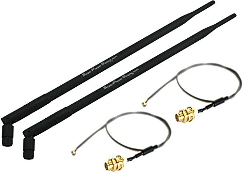Super Power Supply 2 x 9dBi RP-SMA Dual Band 2.4GHz 5GHz + 2 x 8in / 20cm U.fl / IPEX Cable Antenna Mod Kit No Soldering for Wireless Routers Linksys Cisco E2500 E2000 EA2700 E3000 EA3500 E4200 EA4500 EA6200 WRT310N WRT320N WRT330N WRT400N WRT610N WRT54GS2 Belkin F7D8301 Netgear N600 N750 N900 WN2500RP WNDR3300 WNDR3400 WNDR3700 v.2 v.3 WNDR3800 WNDR4000 WNDR4500 WNR834B v. 1 v.2 WNR2000 WNR2200 DGND3700 v.1 v.2 D-Link DIR-655 Buffalo WZR-HP-G450H Mini PCIe Cards Network Extension Bulkhead Pigtail PCI WiFi WAN Repeater