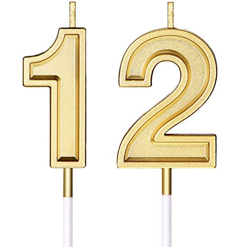 Candele di Compleanno di 12 Candele di Numero per Torta Candele di Torta di Buon Compleanno Decorazione di Topper per Bomboniera di Compleanno Nozze Anniversario Matrimonio, Oro