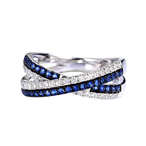 Socoz Mujer Unisex oro blanco 18 quilates (750) redonda Blue Sapphire