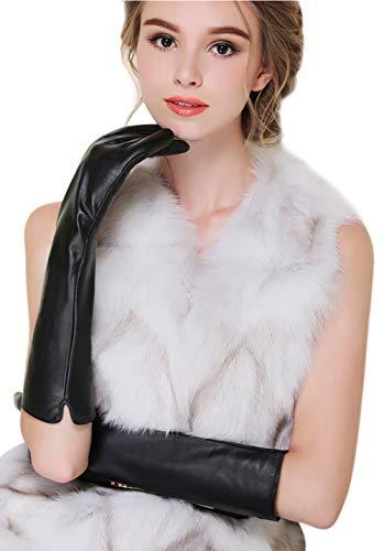 D.B .MOOD Damen Echte Lederhandschuhe Weich Touchscreen Lange Handschuhe Warm Fahren-Handschuhe mit Futter Glatt M 40cm