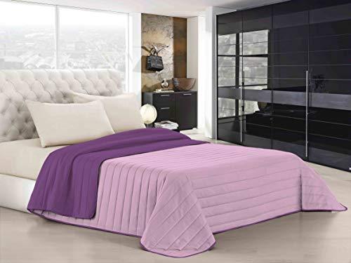 Italian Bed Linen Elegant Trapuntino Estivo, Microfibra, Lilla/Viola, Singolo, 170 x 270 cm