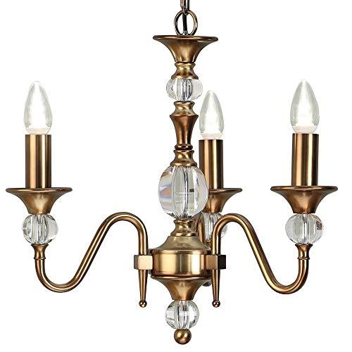 Diana | Luxus Hängeleuchte Pendelleuchte - Messing Antik | K9 Kristallglas Details - 3X Lampenfassung Hochzeit Kronleuchter - Großer opulenter Traditioneller Kandelaber - Höhenverstellbar