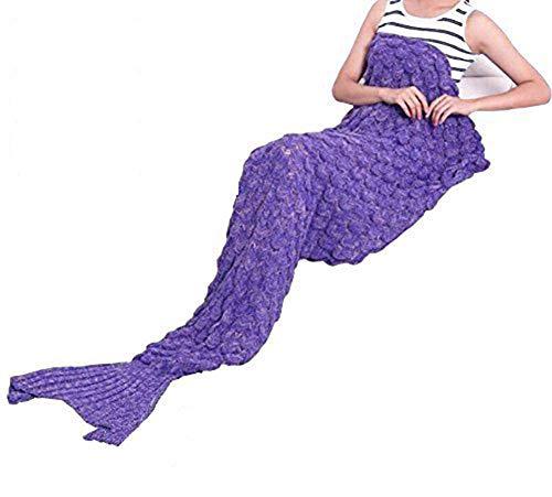 Gebreide stof zeemeermin deken en zeemeermin staart deken haak met schalen patroon volwassen/kinderen, slaapzakken.76.76