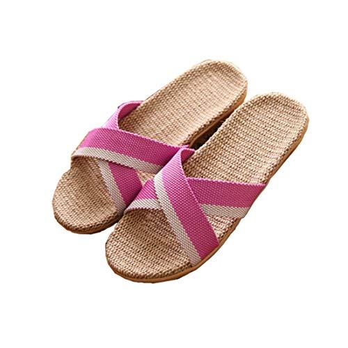 Zapatillas de Estar por Casa de Mujer/Hombre de Lino Zapatillas Interior Sandalias Unisex para Verano Primavera Otoño(Rosa,37-38)