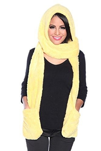 Lange gele pluizige capuchon sjaal met zakken