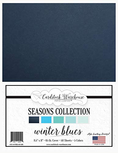 Winter Blues Seasons Collection - Multi-pack Assortment - 8.5 x 11 inch 65 lb Cover Cardstock - 50 Sheets from Cardstock Warehouse