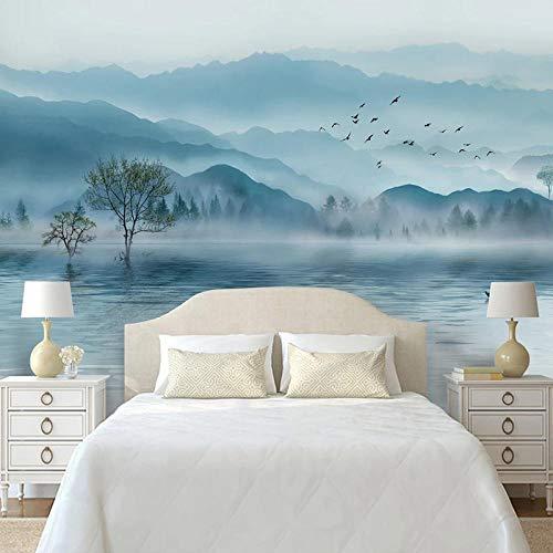 Msrahves Fotomurali Adesivo Stile cinese inchiostro paesaggio lago 180X120CM fotomurale 3D murales da parete quadro pittura fotomurale da parete carta da parati 3D Wall Sticker Adesivi Adesivo da Pare
