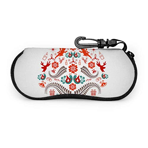 Art Christmas Gift Ball Girl Estuche para anteojos Estuche para anteojos Estuche para gafas de neopreno portátil ligero Estuches con cremallera para anteojos