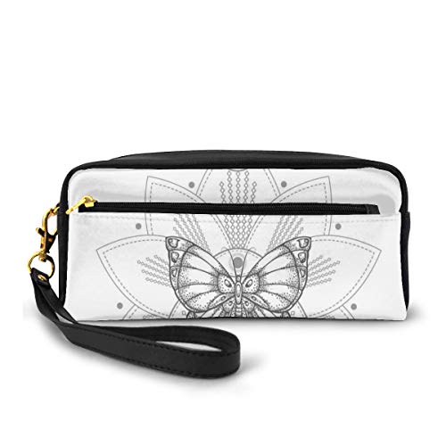 Estuche para lápices, bolsa de papelería, pétalos puntiagudos, diseño de mariposas, atrapasueños, hermoso arreglo, bolso pequeño para maquillaje