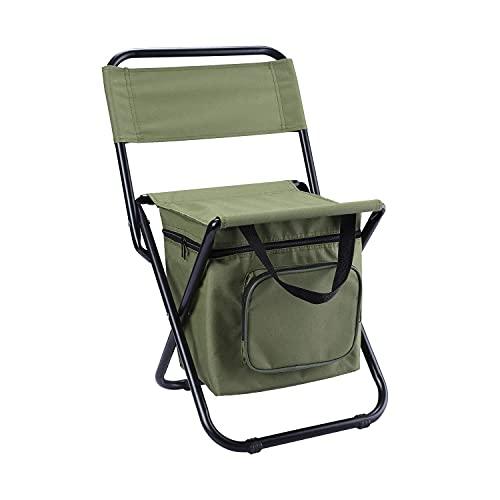 Sillas plegables, taburete de paquetes de hielo portátil, el taburete de pesca se puede respaldar con una bolsa de aislamiento, sillas de playa, taburete de mochila refrigerada al aire libre liviana