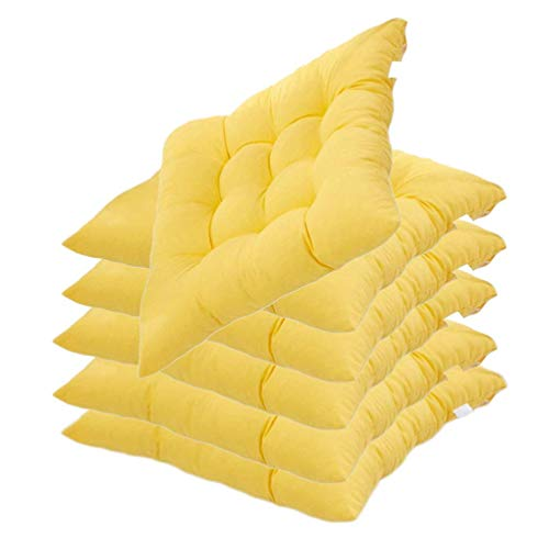 L.TSN YYRZ Wicker Seat Cushions, Universal Square Wicker Style Indoor Outdoor Seat Chair Cushions Solid, Home Patio Furniture Cushions Decorative Floor Seat Pad (40X40cm),Yellow,6 Pack