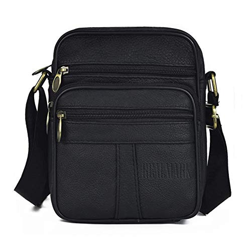 Realmark Herren-Umhängetasche aus echtem Leder schwarz Schwarz-039 S
