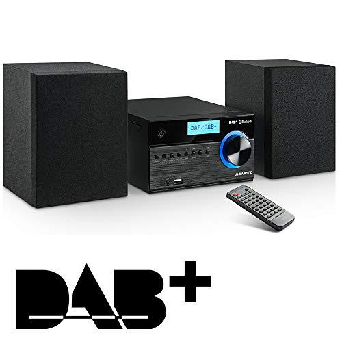 Majestic AH 2350 BT MP3 USB DAB - Sistema Micro Hi-Fi radio DAB/DAB+/FM, Bluetooth, Lettore CD/MP3, Ingresso USB/AUX-IN, telecomando, Nero