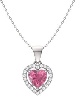 Diamondere Natural and Certified Gemstone and Diamond Heart Petite Necklace in 14k White Gold   0.45 Carat Pendant with Chain