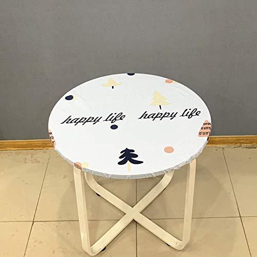 APAN Cubierta de Mesa Ajustada de PVC con Bordes elásticos,Mantel Redondo Impermeable a Prueba de Aceite,Protector de Mantel Estirable para Fiestas en la Cocina,diámetro E 120 cm (47 Pulgadas)