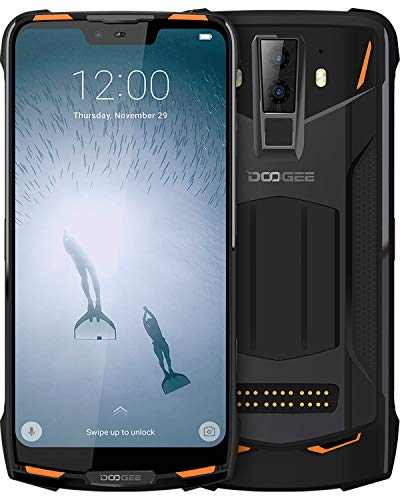 DOOGEE [S90] Teléfono móvil resistente 4G Android 8.1 (Doble SIM IP68 / IP69K impermeable, 5050mAh Helio P60 Octa-core 6GB RAM + 128GB ROM, 6.18 '' FHD +, 16MP + 8MP + 8MP Cámara, NFC), [Naranja]
