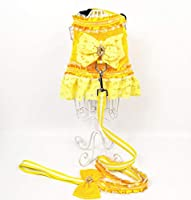高級プリンセス小型犬のハーネスとリードセット夏ペットレースドレスベストクラシックメッシュ子犬ハーネス猫ヨークシャープードル-Yellow-L