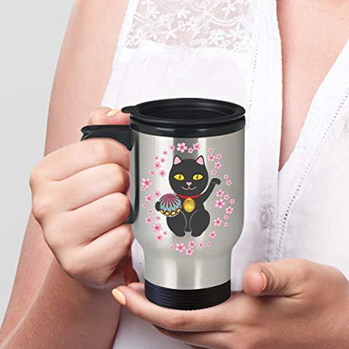 Lucky cat Travel Mug Black Maneki Neko Mug for Good Luck Stainless Steel Tumbler