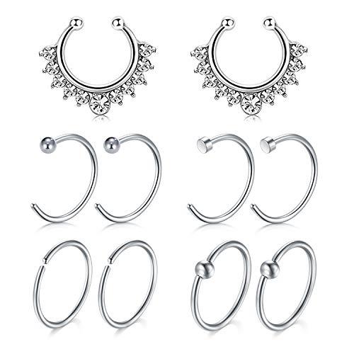 5 Paare Fake Nasenpiercing Chirurgenstahl Tragus Helix Piercing Ohr Fake Piercing Lippe Nase Ring für Damen Herren