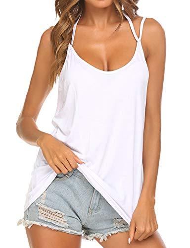 Unibelle Tops für Damen Ärmellose Bluse Spaghetti Bügel Loose Neckholder Cami Tank Top Shirts Weiße Bluse