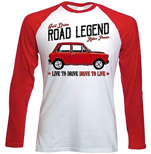 Teesandengines Autobianchi A112 Abarth 70 HP Camiseta de Mangas roja largas T-Shirt Size Small
