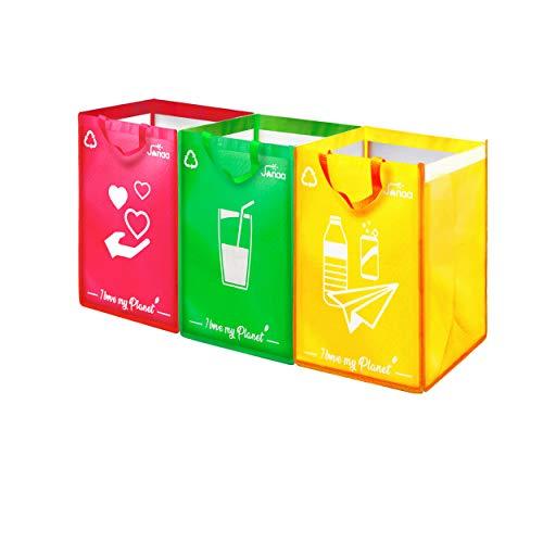 Janaa Cubo de Basura de Reciclaje Selectivo para El Reciclaje de Residuos de Vidrio, Plástico y Metal + Bolsa de Dones