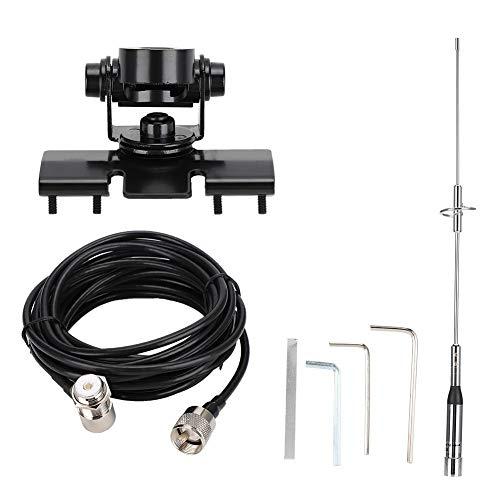 Juego de antena de radio de coche,antena de banda dual impermeable VHF/UHF con base magnética,cable de 5 m RG-58/U,cubierta de imán...