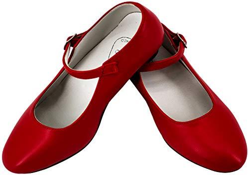 Gojoy shop- Zapato con Tacón de Danza Baile Flamenco o Sevillanas para Niña y Mujer, 5 Colores Disponibles (Rojo, 33)