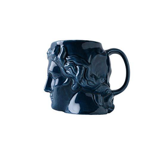 WWWL Taza de café de cerámica con cabeza de David de gran capacidad, taza de escultura griega antigua Apolo taza de oficina personalizada taza de café decoración de escritorio tazas azul2