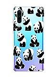 Suhctup Coque Comaptible pour Honor 20/Nova 5T,Transparent Silicone TPU Bumper Motif Animal Crystal Ultra Mince Etui Cover Antichocs Résistance Aux Rayures Protection Housse Case,Pandas 5