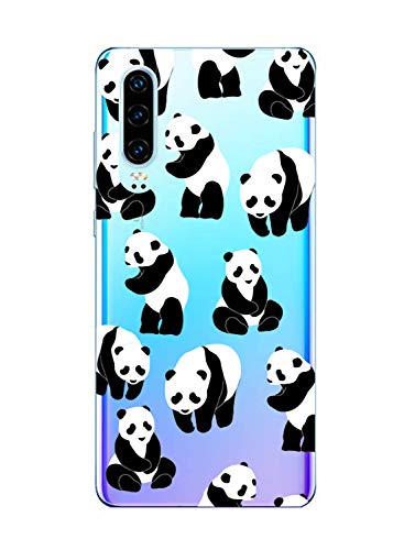 Oihxse Silicone Crystal Coque pour Huawei Y6 Pro 2019/Y6 2019/Enjoy 9E/Honor 8A Ultra-Thin Transparente Gel TPU Souple Etui Design Motif Mignon Panda Protection Antichoc Housse Bumper (Panda A5)