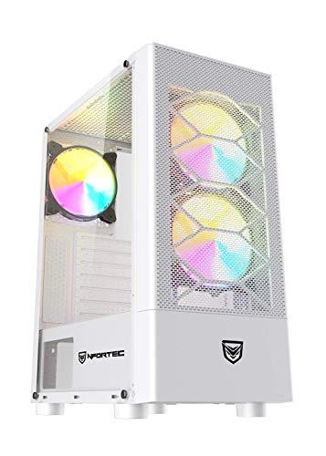 Nfortec Caelum Torre Gaming RGB con Frontal Mallado, Cristal Templado y más de 15 Modos de Iluminación - Color Blanco