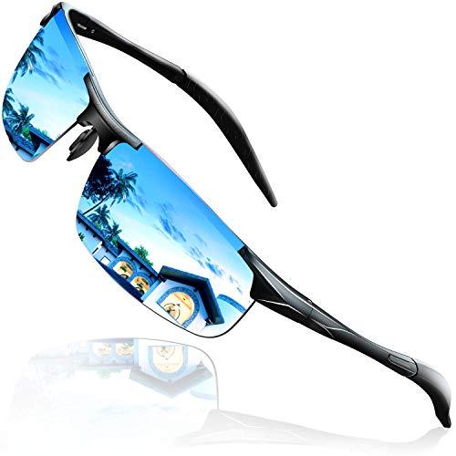 DADA-PRO Sonnenbrille Herren Sportbrille Damen Polarisiert Verspiegelt Retro Fahren Fahrerbrille UV402 Schutz für Autofahren Reisen Golf Party und Freizeit (Blau)