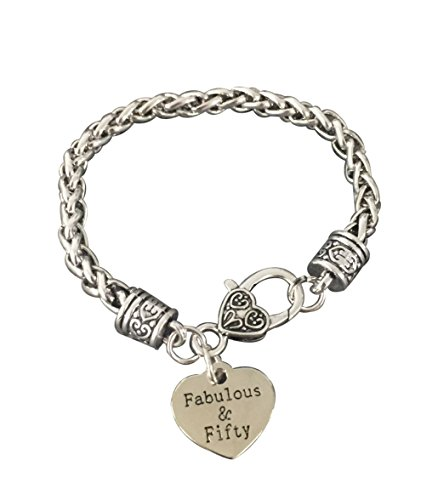 50th Birthday Charm Bracelet, Fabulous and Fifty Bracelet Birthday Gift, 50th Birthday Gift Ideas for Her
