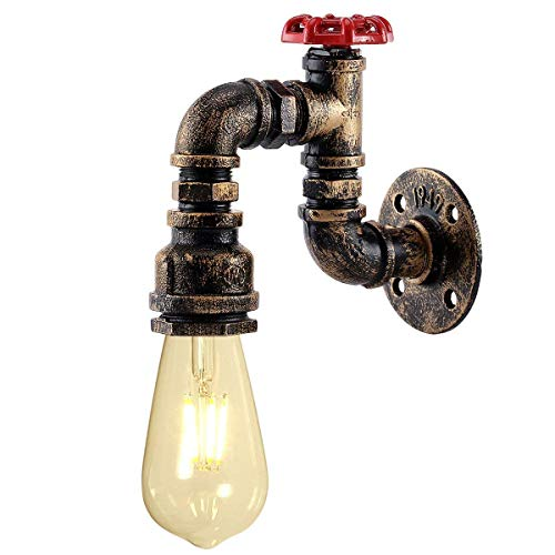 KAWELL Kreative Kerze Wandleuchte Vintage Industrielle Retro Wasserrohr Wandlampe Eisen Metall E27 60W Max für Restaurant, Café, Bar, Küche, Schlafzimmer, Messing Farbe