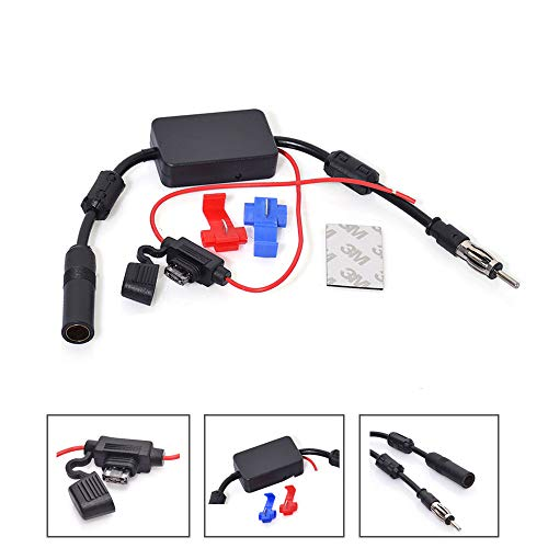 Bingfu Universal Car Stereo FM Radio Antenna Signal Booster Amplifier Amp,12V Power Supply Motorola DIN Plug Connector Adapter for Vehicle Truck SUV Car Audio Radio Stereo Media Head Unit Receiver