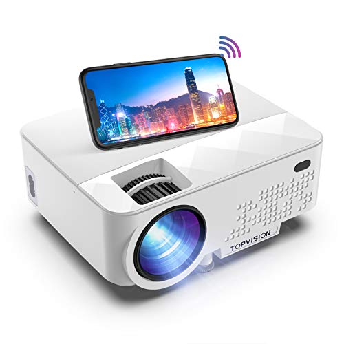 Wi-Fi Projector,TOPVISION 6000 Mini Video Projector with Synchronize Smartphone Screen, 240' Display,Full HD 1080P Portable Home Cinema Projectors,Compatible with TV Stick, PS4, HDMI, VGA, TF, AV, USB