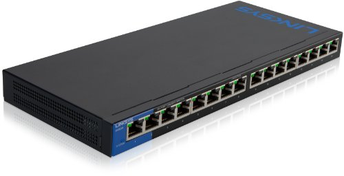 Linksys LGS116-EU - Unmanaged Switch Gigabit de Escritorio para Empresas (16 Puertos, Plug and Play, optimización del tráfico, Ahorro energético), Azul y Negro