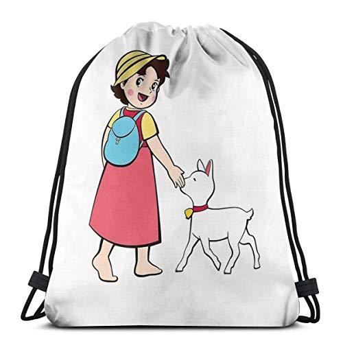 N / A Unisex Drawstring Backpack,Heidi Und Kleine Ziege Verstellbar Turnbeutel,Hipster Sportbeutel,Jugendliche Kordelzug Rucksack Tasche,Damen Herren Turnbeutel