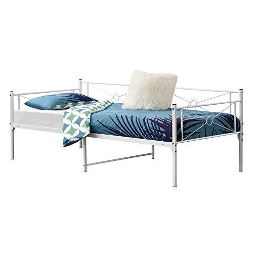 [en.casa] Metallbett Alvesta 90x200 cm mit Kopf- und Fußteil Tagesbett mit Lattenrost Jugendbett Gästebett Stahlrahmen Weiß