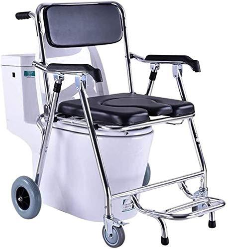 Silla de aluminio con ruedas con ruedas, frenos y reposapiés: pisos portátiles de alojamiento portátil, comodín de brazo de caída bariátrico, para discapacitados, discapacitados, mayores de edad avanz