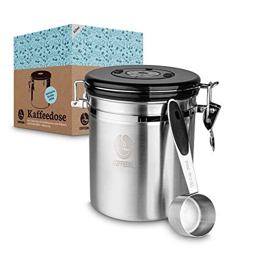 Coffeema® Premium Kaffeedose Edelstahl – [1500] ml Fassungsvolumen – Inklusive Kaffelöffel mit Halterung – [2] Farben – Integrierte Trennvorrichtung (Silber)
