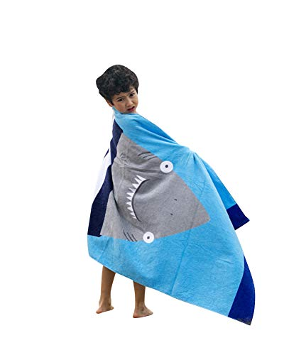 GUOCU Algodón Infantil Toalla de Playa Toalla de baño Traje de baño Envuelto bañarse o Secado rápido Bata de Playa Caricatura niño niña niño Tiburón 160 * 80cm