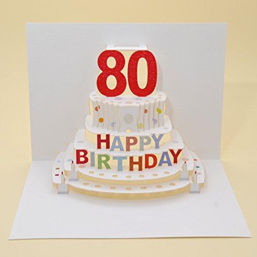 Forever Handmade Pop Up Karte zum 80. Geburtstag - eine hochwertige und originelle Geburtstagskarte, Glückwunschkarte oder Einladungskarte, auch Geschenkgutschein oder Geldgeschenk. GP051