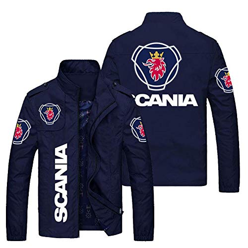 Outwear Chaqueta para Hombre - Scania 3D Prin CHACKETS Stand Collar Casos Casual Adolescente Chaquetas A Prueba De Viento Ciclismo Jersey C-4X-Large