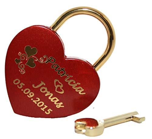 NEU Liebesschloss Herz in Rot -gold mit individueller Gravur Groß 60x45 mm Vorhängeschloss