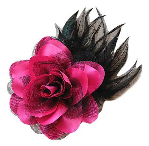 Cheerlife Ansteckrose Haarblume mit Schnabelspange Haarklipp Haarschmuck Haarspangen Ansteckblume Brosche für Frauen Herren Pink