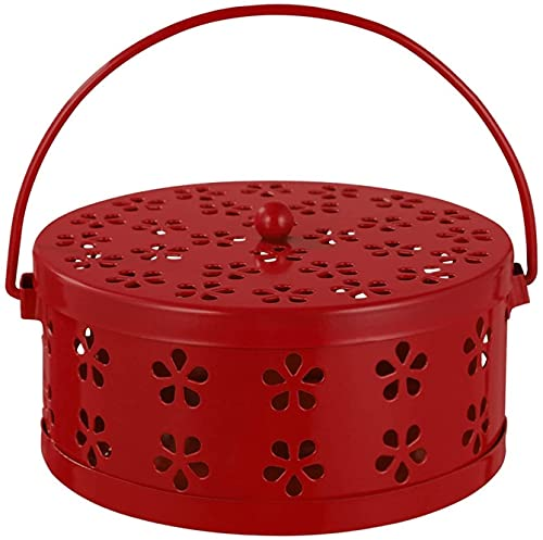 zyh Retro Iron Mosquito Coil Stand Incense Burner With Handle Metal Hollow Out Mosquito Coil Holder Incense Burner Case (Red)